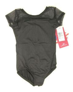 NEW Girls Dance Leotard Motionwear Style # 2759 Black Leotard Mesh Shoulders