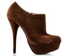 High Heel Closed Toe Platform Ankle Boot Brown Suede Ladies Size 9