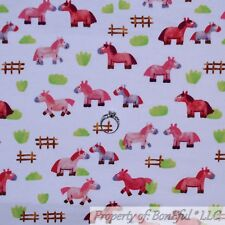BonEful FABRIC FQ Cotton Quilt VTG White Pink Pony Horse Baby Girl Scenic Farm S
