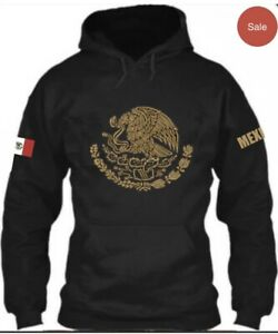 Mexico Sweater Hoodie Gold Print, Unisex Adult Size Large.