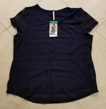 Leo and Nicole Ladies Short Sleeve Scoop Neck Lace Top Blouse Navy XL NEW