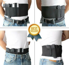 Concealed Belly Band Gun Holster Elastic Pistol Carry Waist Holder 2 Pouch Black