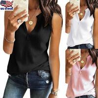 USA Women V Neck Sleeveless Tank Tops Vest Ladies Summer Camisole T-Shirt Blouse