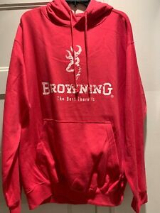 Browning Women's Pink and White Logo Hoodie Size Large Perfect for Winter