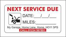 Service Reminder Sticker Personalised with you Name and Address Garage Sticker