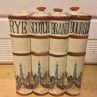 Vintage Ceramic Book Whiskey Decanters Thames JAPAN Scotch Rye Brandy Bourbon