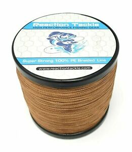 Reaction Tackle High Performance Braided Fishing Line / Braid - NO FADE Brown