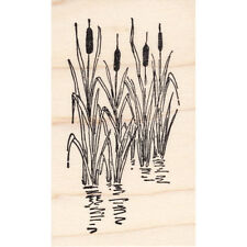 New listing Cattails in Pond Beeswax Rubber Stamp Mounted Scenic Landscape Plant