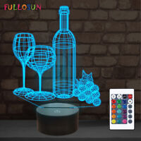 Wine Cup Bottle 3D Night Light Touch Switch Table Desk 3D Optical Illusion Lamps