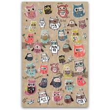 CUTE OWL STICKERS Sheet Bird Animal Korean Paper Kid Craft Scrapbook Sticker NEW