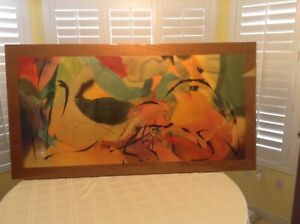 """Vtg. 1989 Peter Kitchell Abstract """"Boomerang Arrows"""" Large Acrylic Signed"""