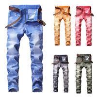 New Mens Super Stretch Skinny Jeans Slim Fit Cotton Denim Pants Spandex Trousers