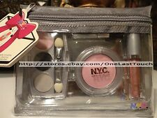NYC 5pc Cosmetic Set PINK Lip Gloss Wand+Eye Shadow+Blush+ Bag NEW YORK COLOR