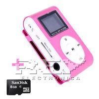 Reproductor MP3 CLIP con Pantalla LCD Color Rosa + MicroSD 8 Gb d47/v52