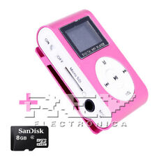 Reproductor MP3 CLIP con Pantalla LCD Color Rosa + MicroSD 8 Gb d47/v52