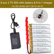 6pcs 3.7V 500mAh Battery+JST 6in1 Charger Board For UDI U818A U817A U817C Drone