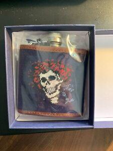 Smathers & Branson Grateful Dead Skull & Roses Bertha Needlepoint Flask NWT RARE
