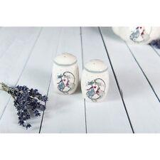 Porcelain Salt and Pepper Set Condiment Cruet Pots Shakers Dispensers Cats Grey