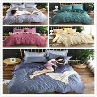Vintage Bed Duvet Cover Sets Silk Satin Bedding Set Queen King Home Checked New