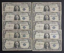 1957 Silver Certificate 1$ Blue Seal Dollar Bill Note - Lot Of 10 (TF929)