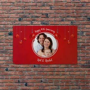 Personalised Photo Happy 40TH Wedding Anniversary 5x3ft Banner
