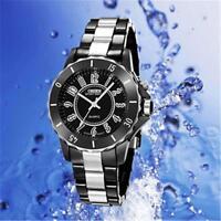 New Black/white steel LED light Women Men boys Quartz Sport Band Wrist Watch%GS: