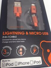 NEW OEM iPhone 6 5 S ANDROID LIGHTNING Micro USB Charger Cable  MFI YATRA SYNC A