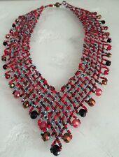 """Artist Czech Glass Bead TURQUOISE RED BRONZE Cascade Bib Collar """"V"""" NECKLACE 20"""""""