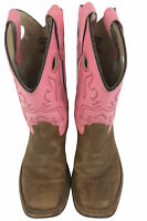 OLD WEST Brown Pink Leather Square Toe Cowboy Boots Youth Size 2.5 Style BSC1839