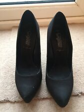 "Black Satin Court Shoes from New Look Size 7 & 4 3/4"" Heel"