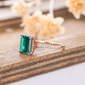 2.5 Ct Emerald Cut Green Emerald Solitaire Wedding Engagement Ring 14k Rose Gold