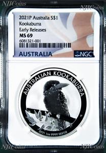 2021 P Australia .9999 Silver Kookaburra NGC MS 69 $1 1 oz Coin Flag ER Label
