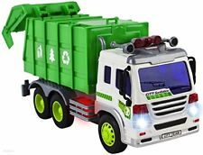 Kids Garbage Truck Toy With Lights & Sounds, Pull Open Back - Friction Powered