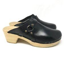 Womens Swedish Clog Shoes Black Block Heel Round Toe Leather Slip Ons 8 EUR 39