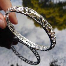 925 Sterling Silver Bracelet Ornate Bangle Unique Greek Present SP Vintage Gift