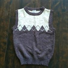 vintage 80s purple tweed colorblock vest preppy argyle wool blend womens sweater
