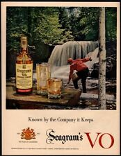 1957 SEAGRAM's V.O. Canadian Whiskey -Fisherman - River - Fish VINTAGE AD