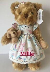 Personalised bear Flower girl Christening new baby big sister 30cm rag doll gift