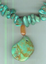 byPuffed Carnelian Beads and Turquoise Nuggets in Drop Style Necklace
