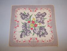 Vintage Decorative Ladies Handkerchief #153 GRAY TULIP FLORAL RED YELLOW