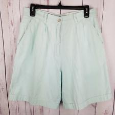 IZOD Club Womens Shorts Size 10 Cotton Seersucker Mom Shorts Green White Striped