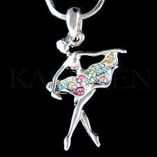 w Swarovski Crystal Rainbow BALLERINA The Nutcracker Ballet Dancer Necklace Gift