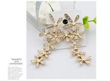 Gold Plated drop Fashion crystals Flower long earrings jewelry earrings