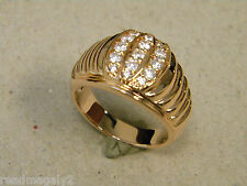 Men's Rose Pink Gold Plated Football Shape CZ ring Channel Setting New