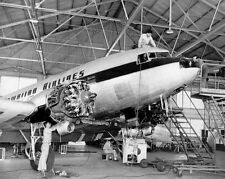 "HAWAIIAN AIR DC-3 HONOLULU INTERNATIONAL AIRPORT 1955 10x8"" B&W PHOTOGRAPH"