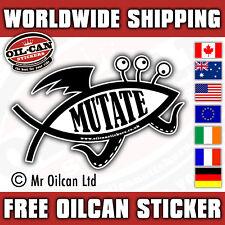 MUTATE bumper sticker (darwin evolve fish design) 150mm wide