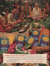 Hawaiian Luau DOLE PINEAPPLES Hawaii LEI Party Time 1954 MAGAZINE AD