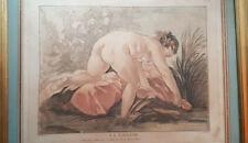 XVIIIe 1768 Gravure Eau Forte Couleur La Laveuse Francois BOUCHER & BONNET 40x48