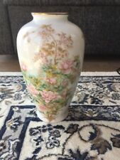 Vintage Shibata Japan Vase - Flowers and Butterflies on Delicate White Porcelain