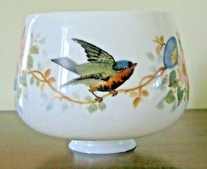 "Beautiful Gas Lamp / Gasolier Shade Hand Painted Birds - Opaline Glass - 2.6"""